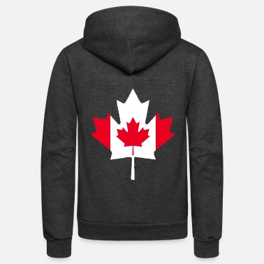 Leaf Canada Maple Leaf Canadian Flag - Unisex Fleece Zip Hoodie