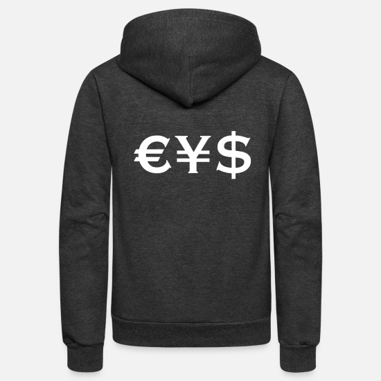 Euro Hoodies & Sweatshirts - Cash Money Ice Dollars Rich - Unisex Fleece Zip Hoodie charcoal gray