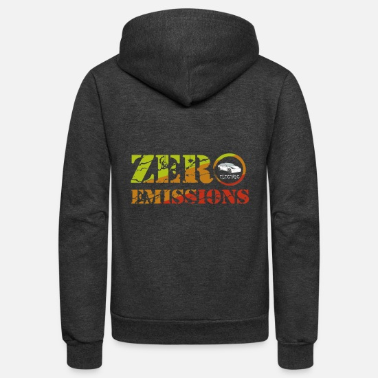 Enviromental Hoodies & Sweatshirts - Zero Emissions Electric Vehicle Shirt - Unisex Fleece Zip Hoodie charcoal gray