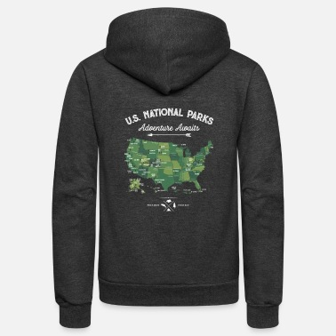 National National Park Map Vintage All 59 National Parks - Unisex Fleece Zip Hoodie