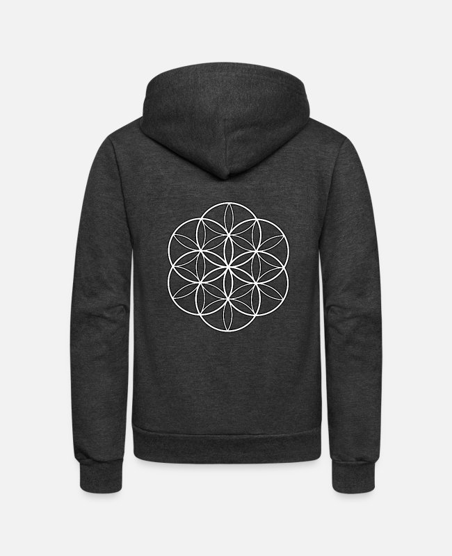 Geometry Hoodies & Sweatshirts - Geometric flower of life - Unisex Fleece Zip Hoodie charcoal gray