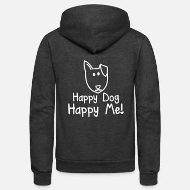 Kawaii HAPPY DOG- HAPPY ME! with smiling puppy dog face - Unisex Fleece Zip Hoodie