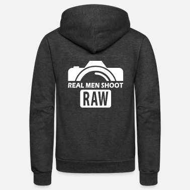 Photography Real men shoot RAW - Unisex Fleece Zip Hoodie