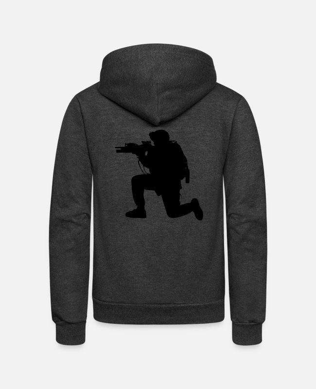 Jaws Hoodies & Sweatshirts - Modern Army Soldier - Unisex Fleece Zip Hoodie charcoal gray