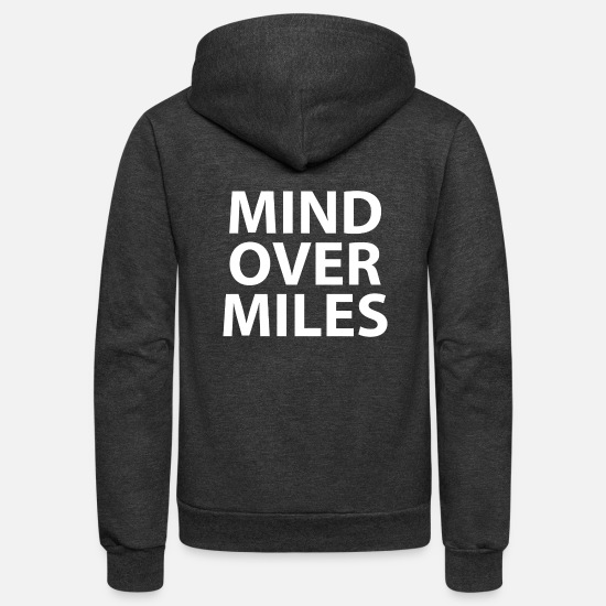 Running Hoodies & Sweatshirts - Mind Over Miles - Funny Running t-shirt - Unisex Fleece Zip Hoodie charcoal gray