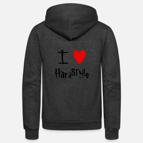 Love Hoodies & Sweatshirts - Hardstyle I love - Unisex Fleece Zip Hoodie charcoal gray
