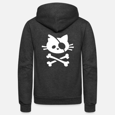 Pirate Cat Skull and Crossbone - Unisex Fleece Zip Hoodie