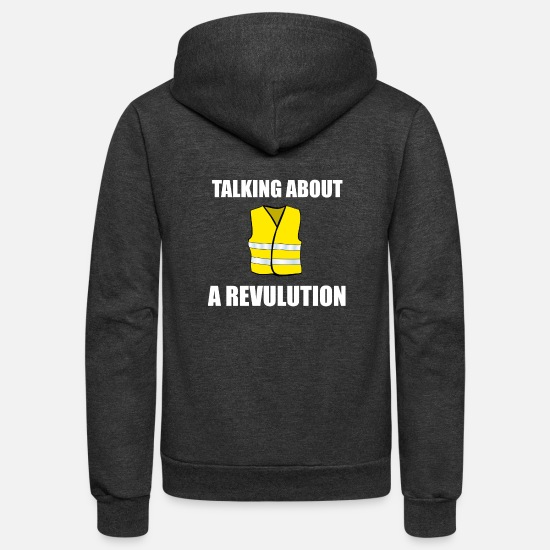 Protest Hoodies & Sweatshirts - Talking about a Revulution white - Unisex Fleece Zip Hoodie charcoal gray