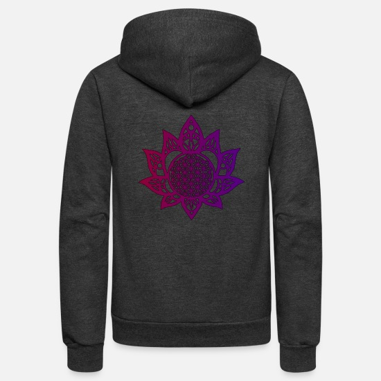 Flower Hoodies & Sweatshirts - Flower of life beautiful - Unisex Fleece Zip Hoodie charcoal gray