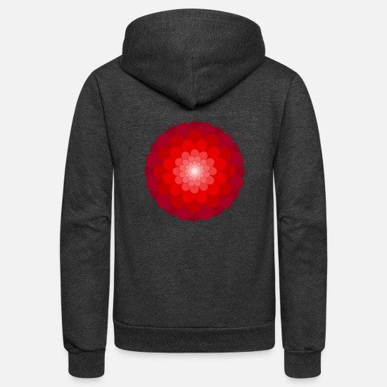 Bloom Hoodies & Sweatshirts - flower red - Unisex Fleece Zip Hoodie charcoal gray