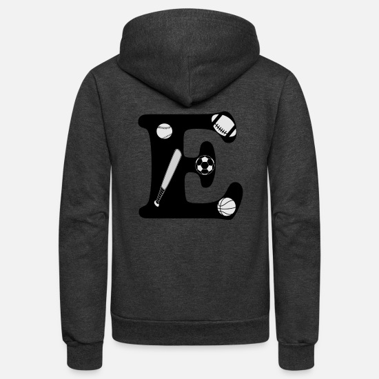 Initial Hoodies & Sweatshirts - initial E - Unisex Fleece Zip Hoodie charcoal gray