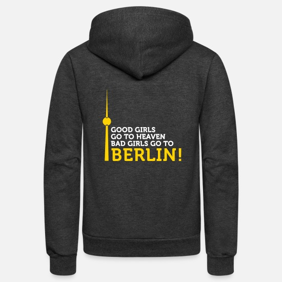 Berghain Hoodies & Sweatshirts - Bad Girls Go To Berlin! - Unisex Fleece Zip Hoodie charcoal gray