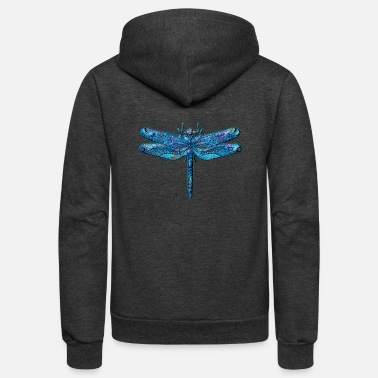 Dragonfly Dragonfly Tattoo Iridescent* Abstract Blue - Unisex Fleece Zip Hoodie