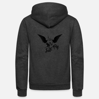 Just Fly Just Fly Heart Wings - Unisex Fleece Zip Hoodie