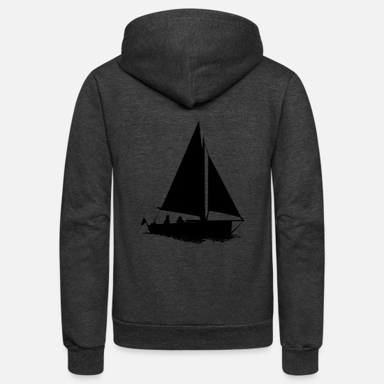 Sailboat Hoodies & Sweatshirts - sailboat - Unisex Fleece Zip Hoodie charcoal gray