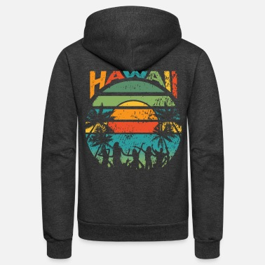 90s Surfing Retro Hawaiian Sunset - Unisex Fleece Zip Hoodie