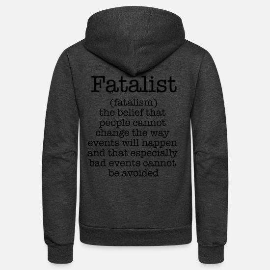 Darkness Hoodies & Sweatshirts - Fatalism - Unisex Fleece Zip Hoodie charcoal gray