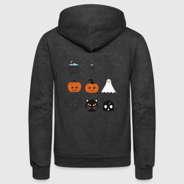 Pumpkin emojis - Ghost emojis - Unisex Fleece Zip Hoodie