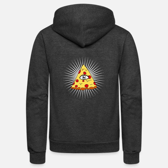 New World Order Hoodies & Sweatshirts - illuminati pizza slice eye Comic fun ironic humour - Unisex Fleece Zip Hoodie charcoal gray