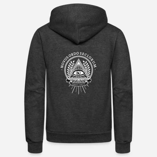 Chivalry Hoodies & Sweatshirts - illuminati sign symbol retro secret humor pyramide - Unisex Fleece Zip Hoodie charcoal gray