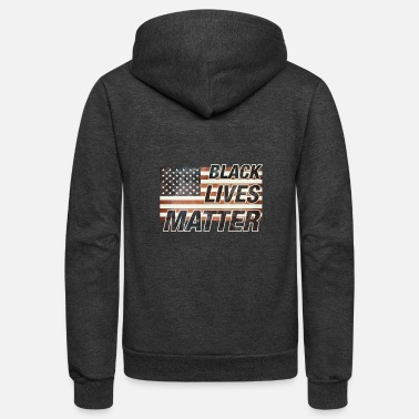 BLACK LIVES MATTER on American Vintage Flag - Unisex Fleece Zip Hoodie