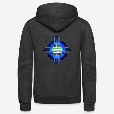 Blue Hue Autism Awareness Emblem Frame - Unisex Fleece Zip Hoodie