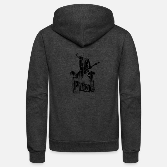 Rocker Hoodies & Sweatshirts - Punk - Unisex Fleece Zip Hoodie charcoal gray