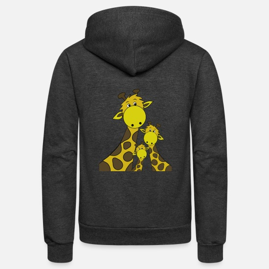 Giraffe Hoodies & Sweatshirts - Giraffe - Unisex Fleece Zip Hoodie charcoal gray