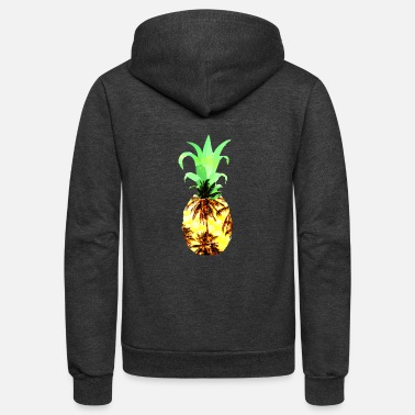 Trees Summer Pineapple Palm Tree - Unisex Fleece Zip Hoodie