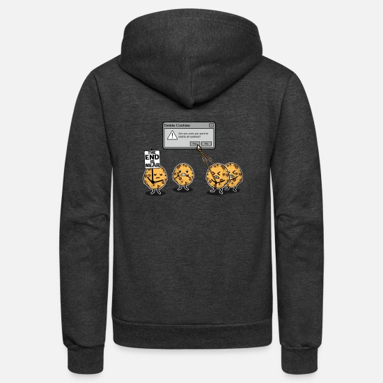 Funny Hoodies & Sweatshirts - Deleting Cookies Is A Serious Threat - Unisex Fleece Zip Hoodie charcoal gray