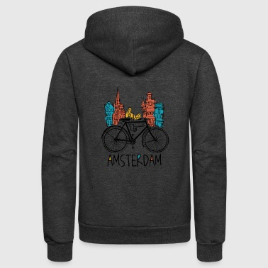 Amsterdam Amsterdam Retro Netherlands Bicycle Bike Gift - Unisex Fleece Zip Hoodie