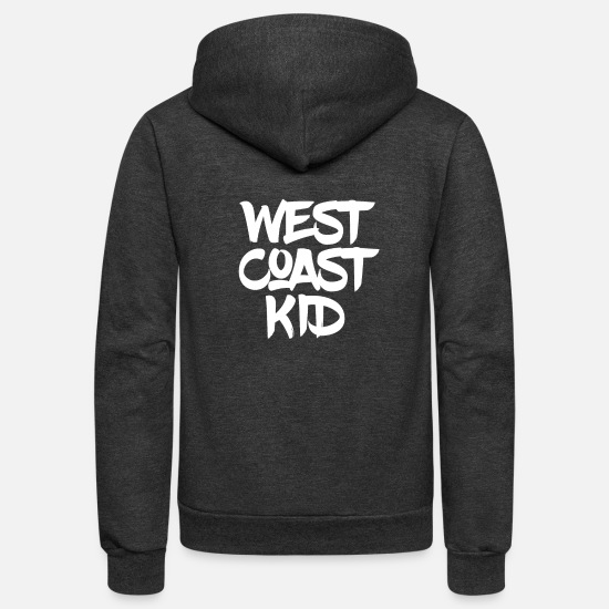 West Hoodies & Sweatshirts - WEST COAST KID - Unisex Fleece Zip Hoodie charcoal gray