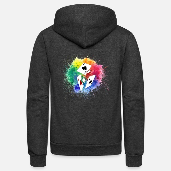 Casino Hoodies & Sweatshirts - Poker, Color, Splash - Unisex Fleece Zip Hoodie charcoal gray