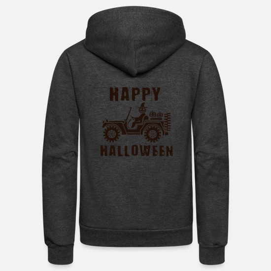 Birthday Hoodies & Sweatshirts - SUV Halloween Pumpkin Bat Dragon I Gift Idea - Unisex Fleece Zip Hoodie charcoal gray