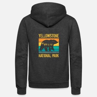 Mountains Vintage Yellowstone National Park Bear - Unisex Fleece Zip Hoodie