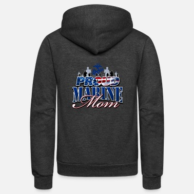 Marine Proud Marine Mom - Unisex Fleece Zip Hoodie