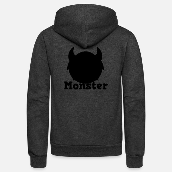 Birthday Hoodies & Sweatshirts - monster with horns - Unisex Fleece Zip Hoodie charcoal gray