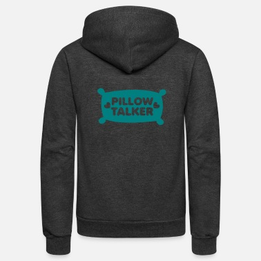Pillow PILLOW TALKER on a pillow with love hearts - Unisex Fleece Zip Hoodie
