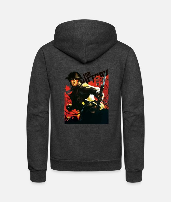 Canada Hoodies & Sweatshirts - WW2 Canadian Grenadier - Unisex Fleece Zip Hoodie charcoal gray