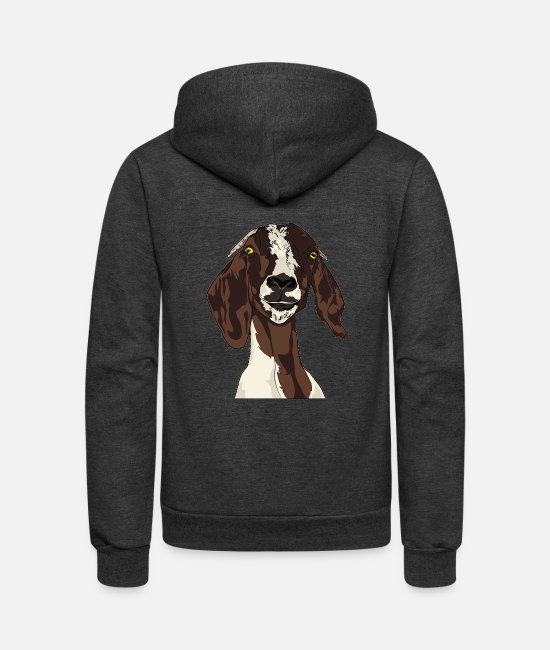 Animal Hoodies & Sweatshirts - goat - Unisex Fleece Zip Hoodie charcoal gray