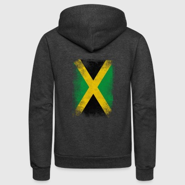 Jamaica Flag Proud Jamaican Vintage Distressed - Unisex Fleece Zip Hoodie