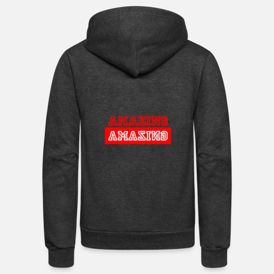Women Hoodies & Sweatshirts - Amazing - Writing - red - Streetwear - Urbanpeople - Unisex Fleece Zip Hoodie charcoal gray