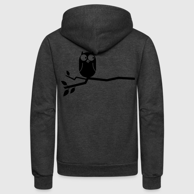 simple owl on a branch cute!  - Unisex Fleece Zip Hoodie