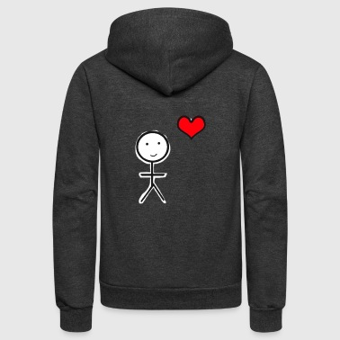 Stickman heart - Unisex Fleece Zip Hoodie