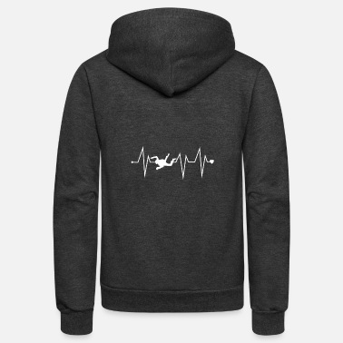 Crossfit Funny Skydiving Skydiver Heartbeat Heart Pulse Rat - Unisex Fleece Zip Hoodie