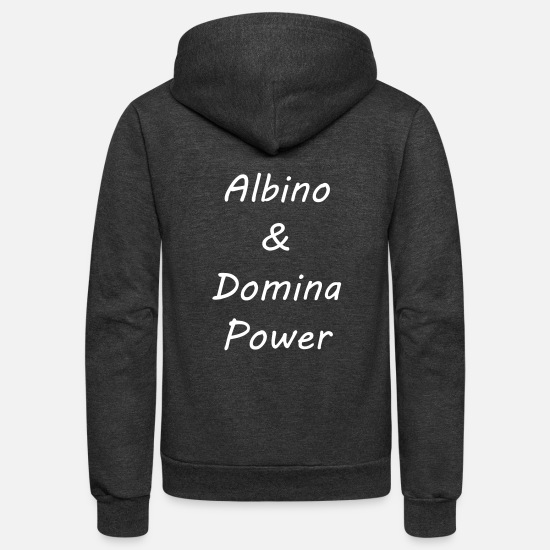 White Hoodies & Sweatshirts - Albino and Domina Power White Vector - Unisex Fleece Zip Hoodie charcoal gray