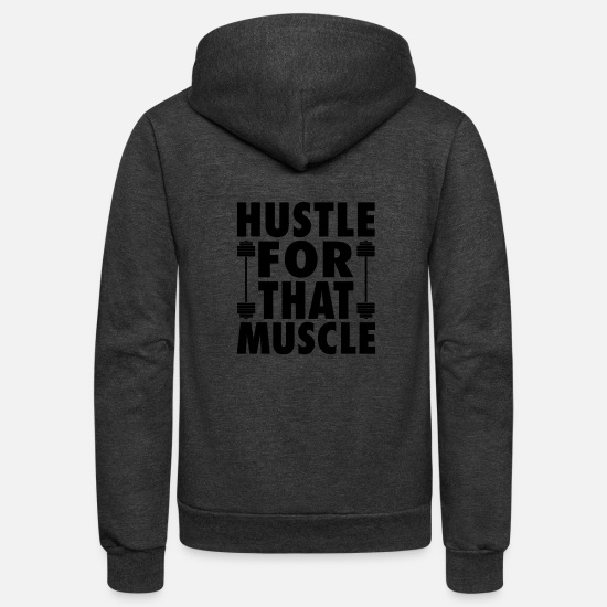 Muscle Car Hoodies & Sweatshirts - Hustle For That Muscle - Unisex Fleece Zip Hoodie charcoal gray