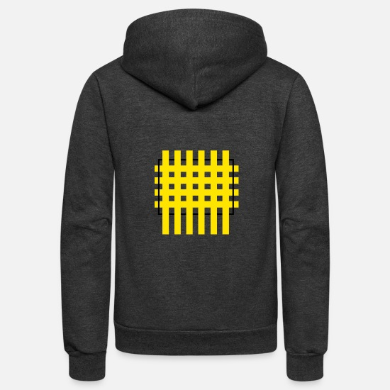 Beautiful Hoodies & Sweatshirts - Black and yellow Criss cross stitch palette - Unisex Fleece Zip Hoodie charcoal gray