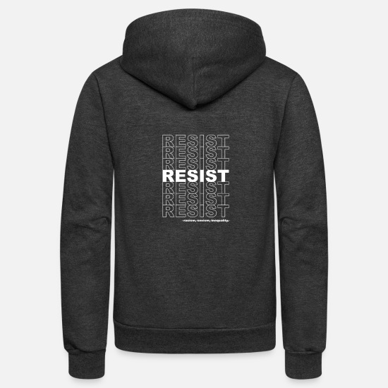 Politics Hoodies & Sweatshirts - Resist Politics Political - Unisex Fleece Zip Hoodie charcoal gray