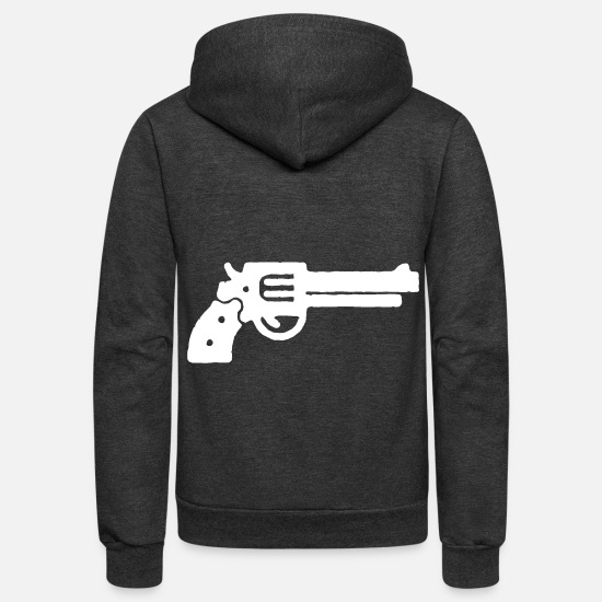 Gun Hoodies & Sweatshirts - Revolver - Unisex Fleece Zip Hoodie charcoal gray